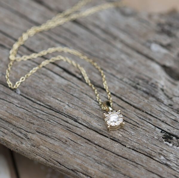 9ct Gold Solitaire Diamond Necklace with Personalised Box