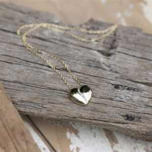 Gold Heart with Diamonds Necklace*