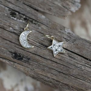 Gold Moon & Star Diamond Necklace